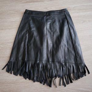 H&M Black Faux Leather Fringe Mini Skirt (US 2)